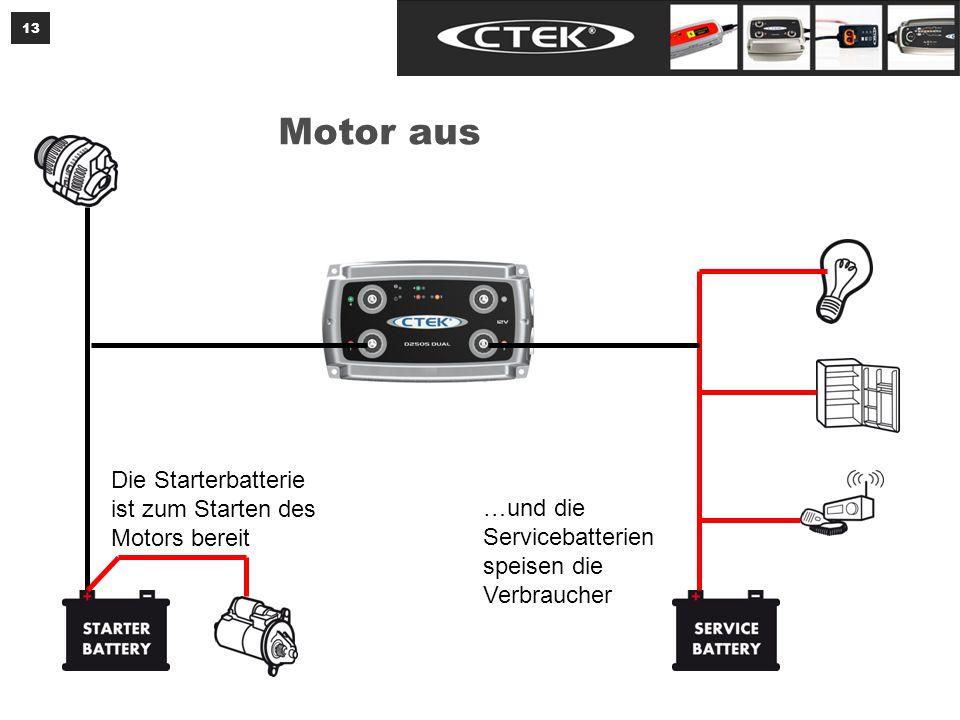 Das CTEK D250S DUAL lädt die Servicebatterien mit einer temperaturkompensierten Ladung.