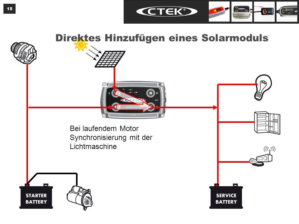 Das Solarmodul speist bei ausgeschaltetem Motor beide Batterien