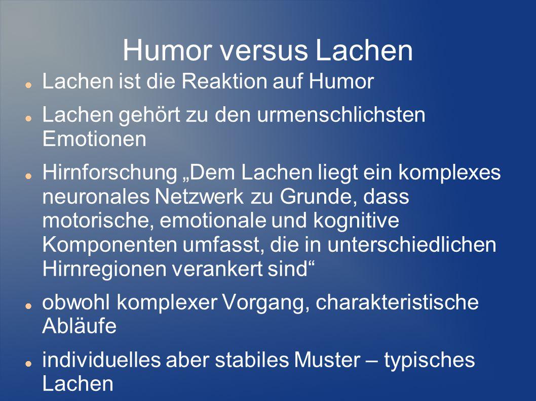 Humor versus Lachen Lachen ist die Reaktion auf Humor