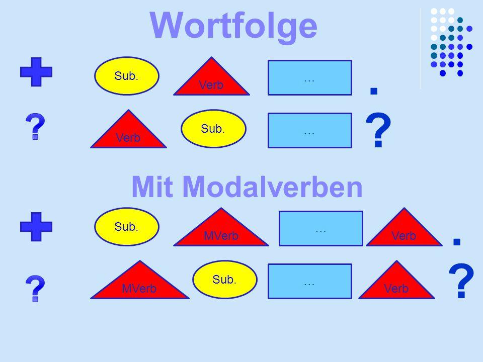 . . Wortfolge Mit Modalverben Sub. Verb … Verb Sub. … Sub.