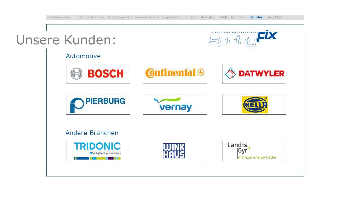 Unsere Kunden: Automotive Andere Branchen