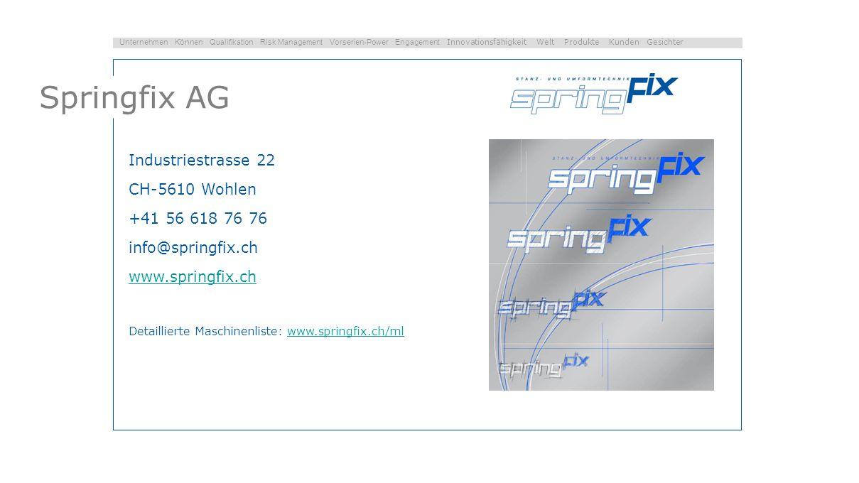 Springfix AG Industriestrasse 22 CH-5610 Wohlen +41 56 618 76 76
