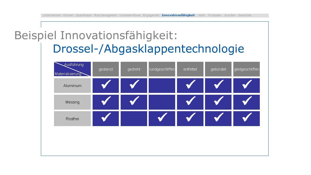 Beispiel Innovationsfähigkeit: Drossel-/Abgasklappentechnologie