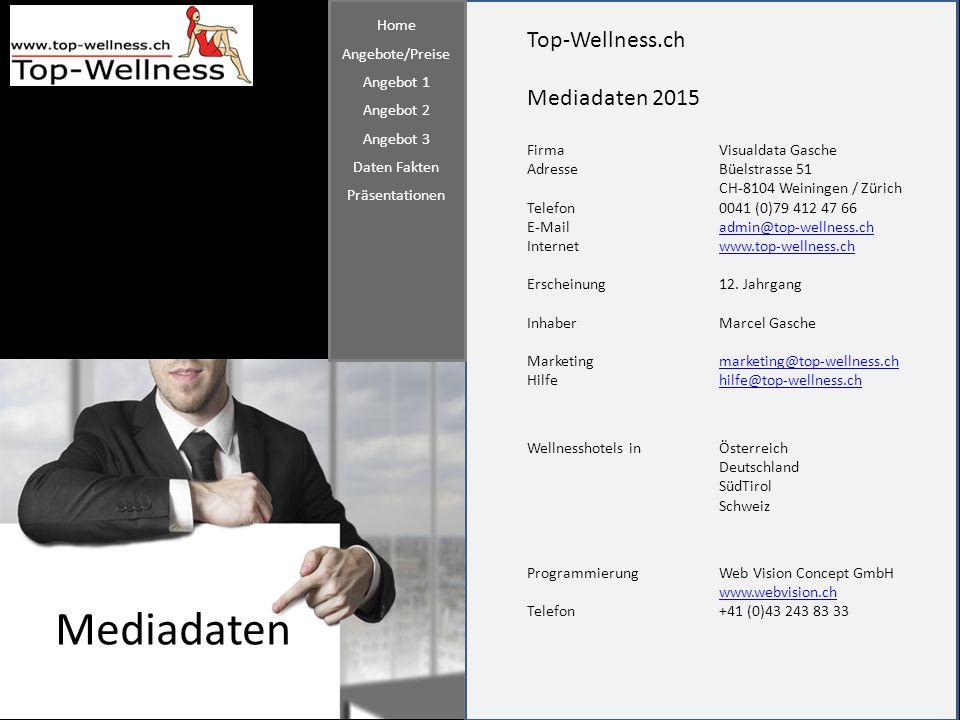 Mediadaten Top-Wellness.ch Mediadaten 2015 Home Angebote/Preise