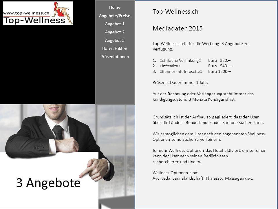 3 Angebote Top-Wellness.ch Mediadaten 2015 Home Angebote/Preise