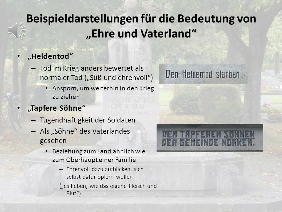 """Beispieldarstellungen für die Bedeutung von """"Ehre und Vaterland"""