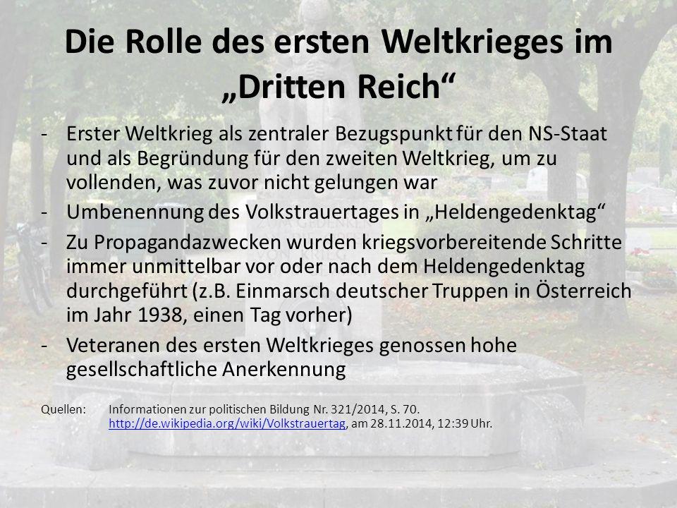 """Die Rolle des ersten Weltkrieges im """"Dritten Reich"""