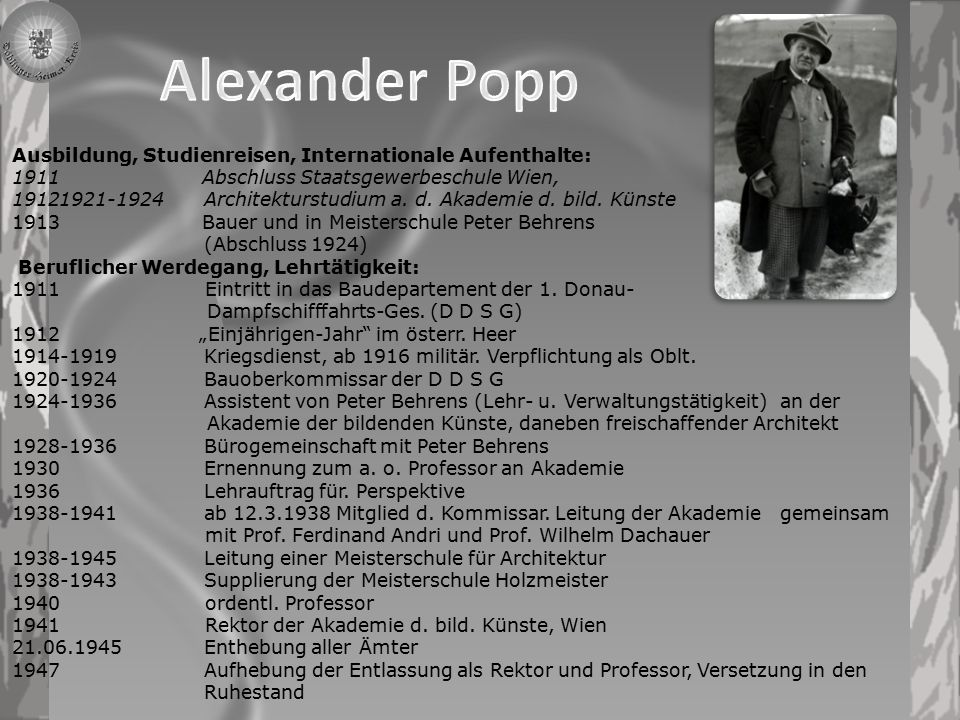 Alexander Popp Ausbildung, Studienreisen, Internationale Aufenthalte: