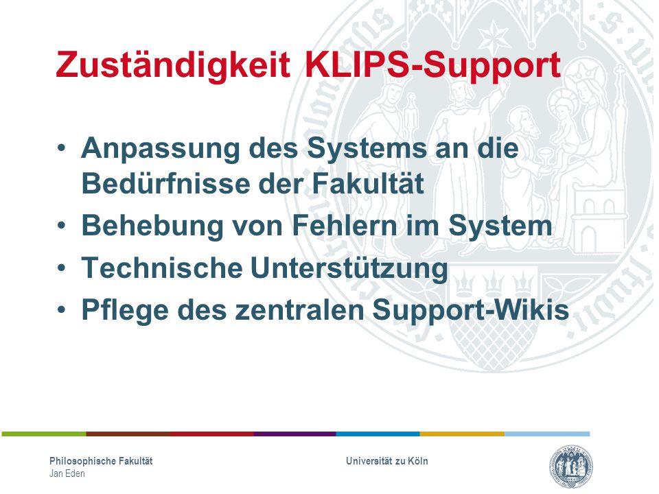 Zuständigkeit KLIPS-Support
