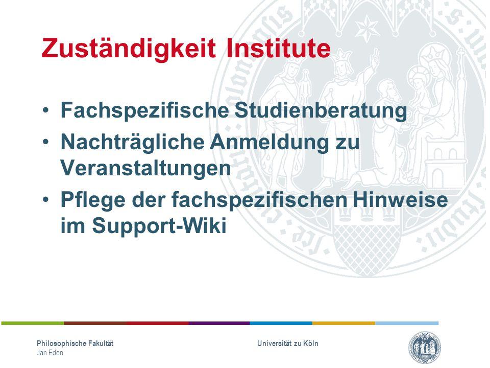 Zuständigkeit Institute