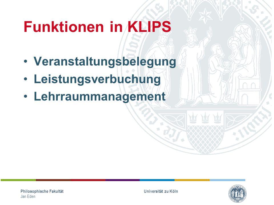 Funktionen in KLIPS Veranstaltungsbelegung Leistungsverbuchung