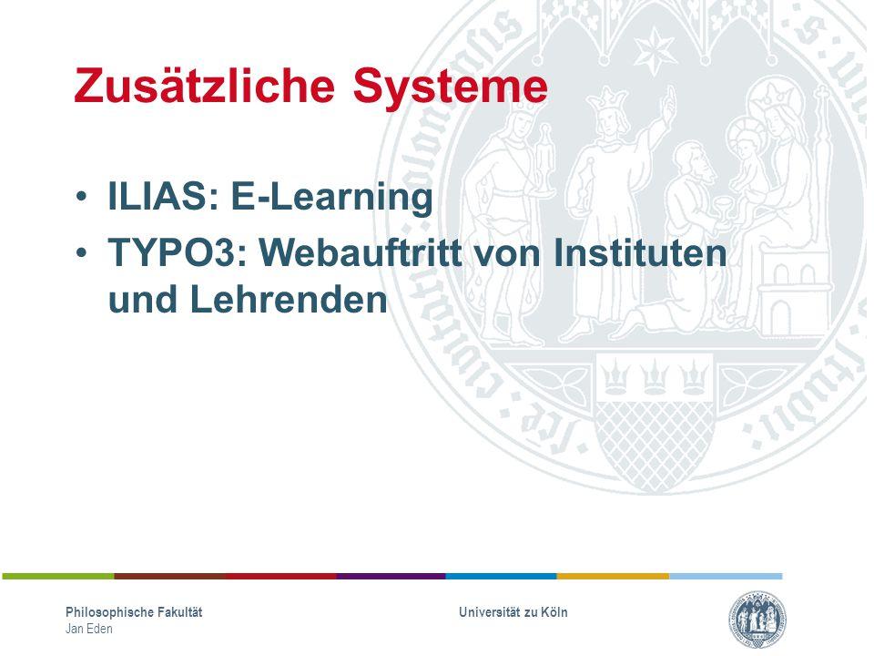 Zusätzliche Systeme ILIAS: E-Learning