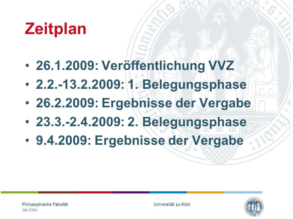 Zeitplan 26.1.2009: Veröffentlichung VVZ