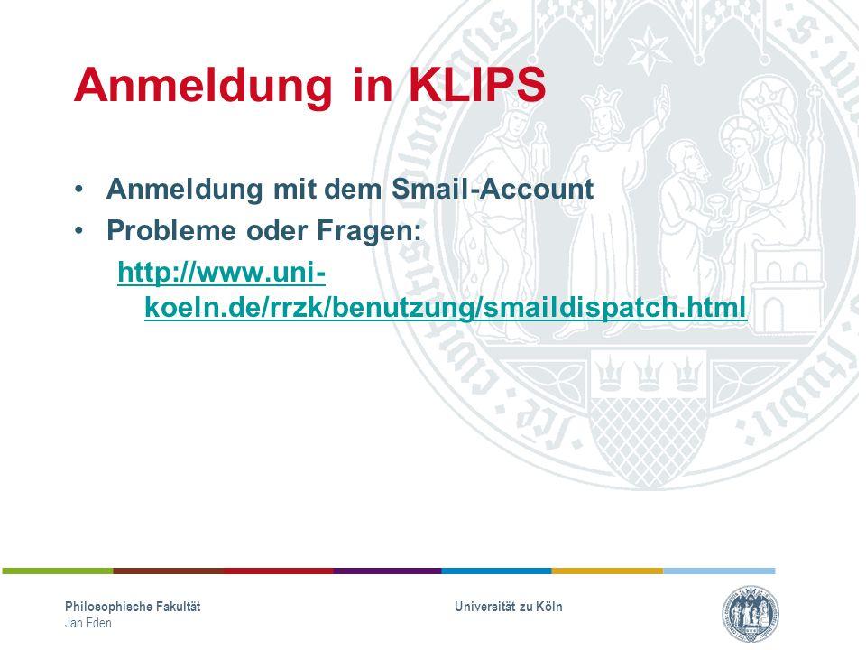 Anmeldung in KLIPS Anmeldung mit dem Smail-Account