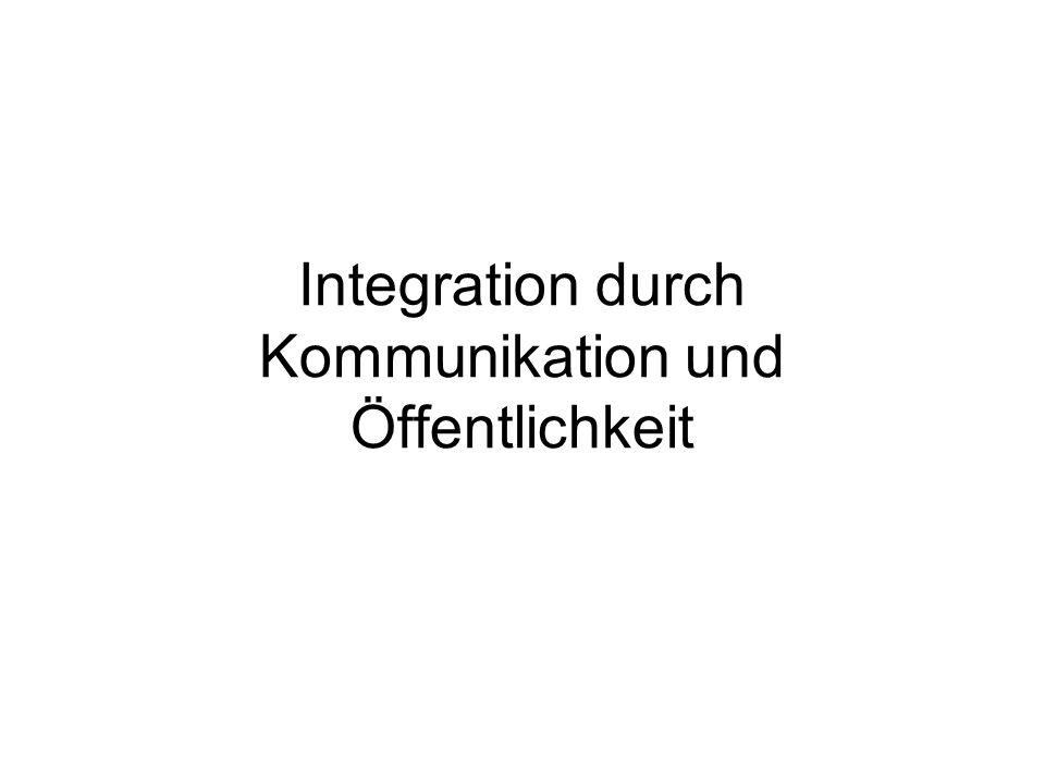Integration durch Kommunikation und Öffentlichkeit