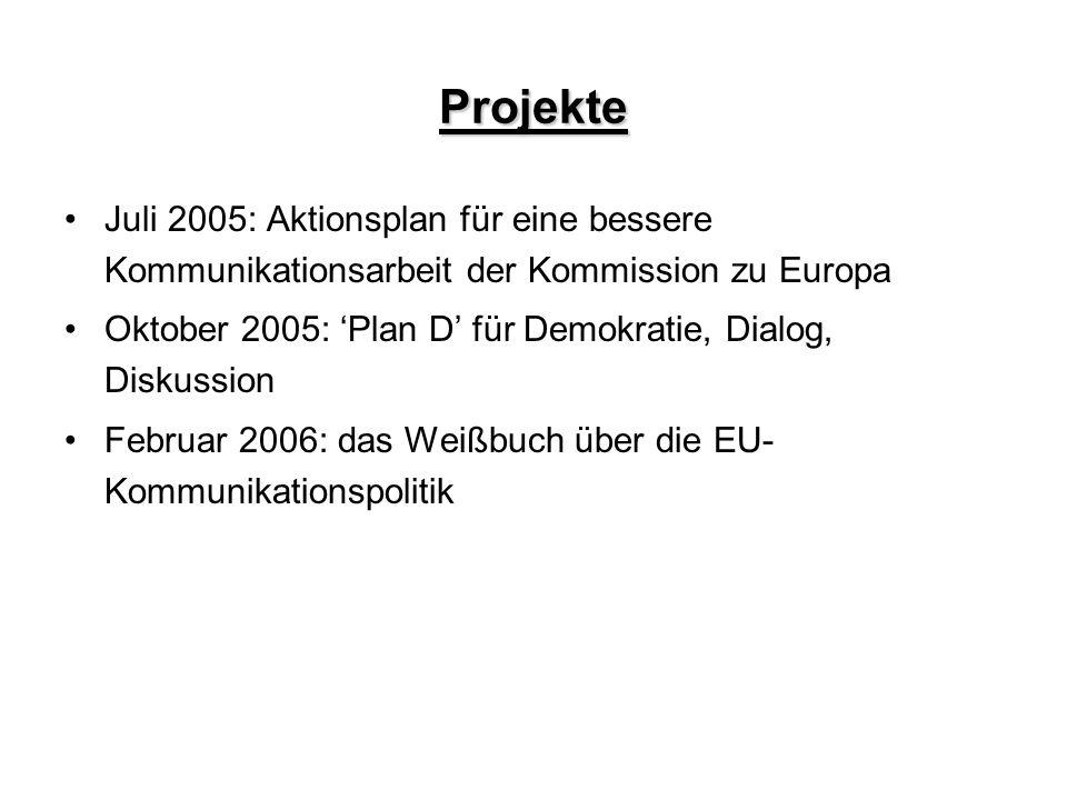 Projekte Juli 2005: Aktionsplan für eine bessere Kommunikationsarbeit der Kommission zu Europa.