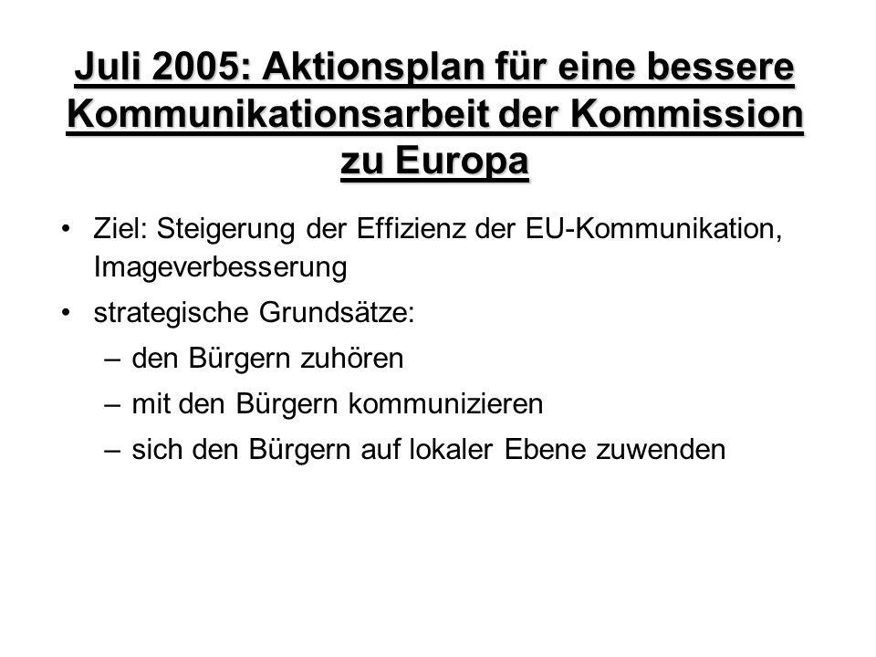 Juli 2005: Aktionsplan für eine bessere Kommunikationsarbeit der Kommission zu Europa