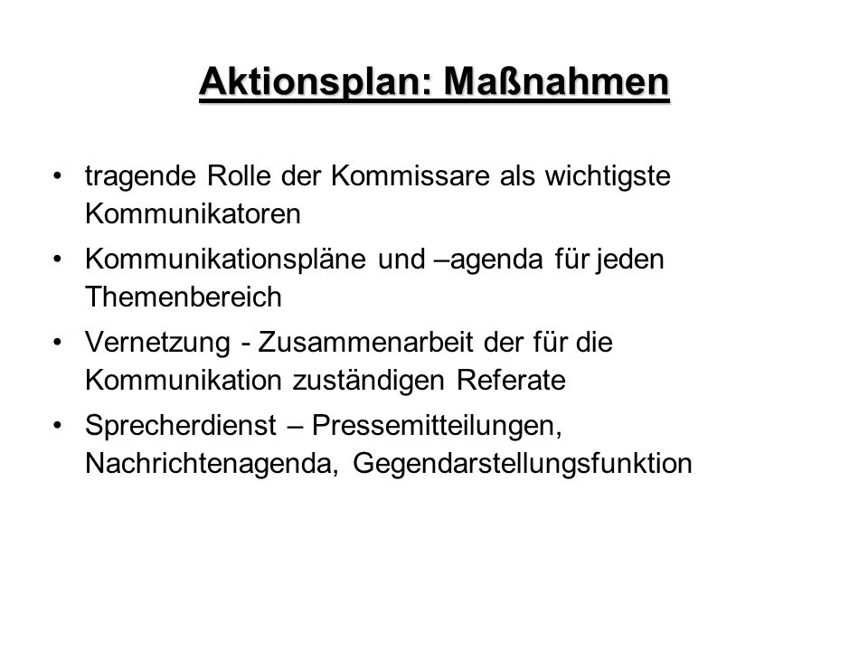 Aktionsplan: Maßnahmen