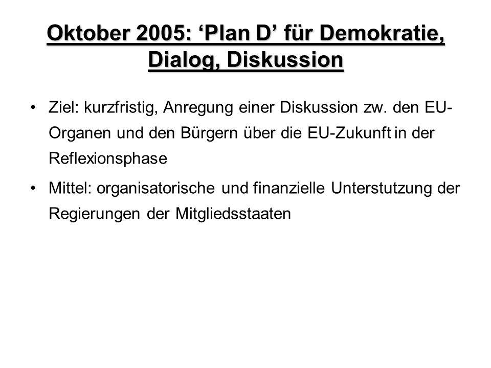 Oktober 2005: 'Plan D' für Demokratie, Dialog, Diskussion