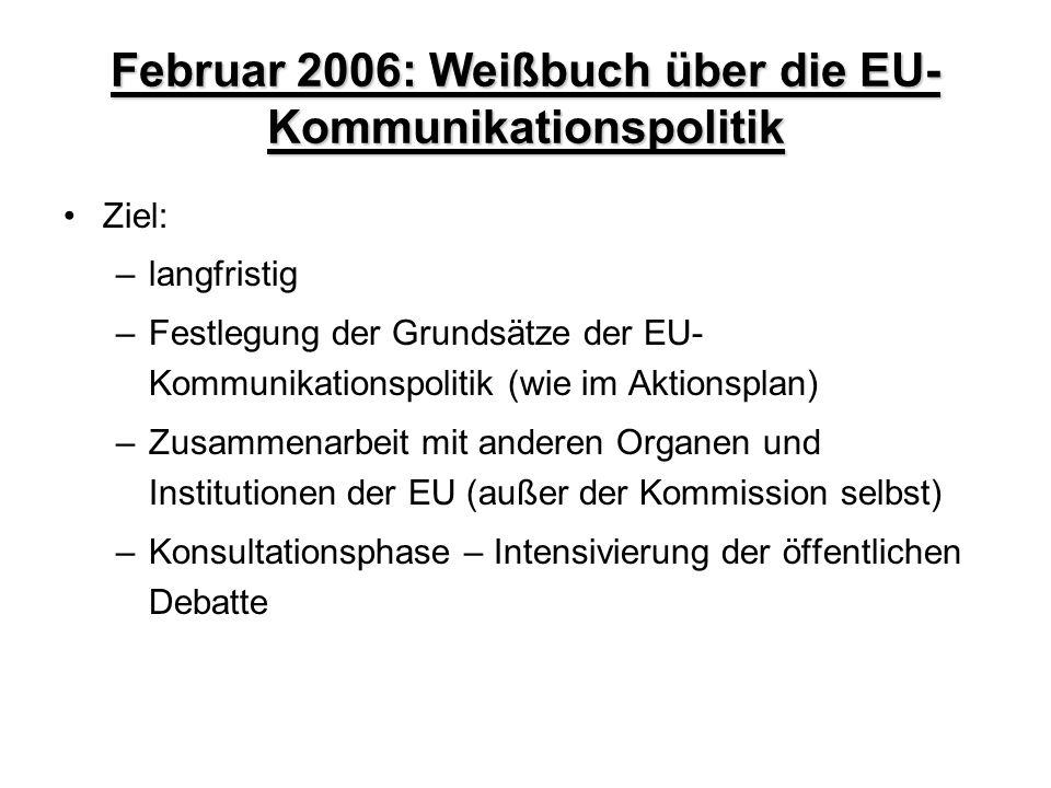 Februar 2006: Weißbuch über die EU-Kommunikationspolitik