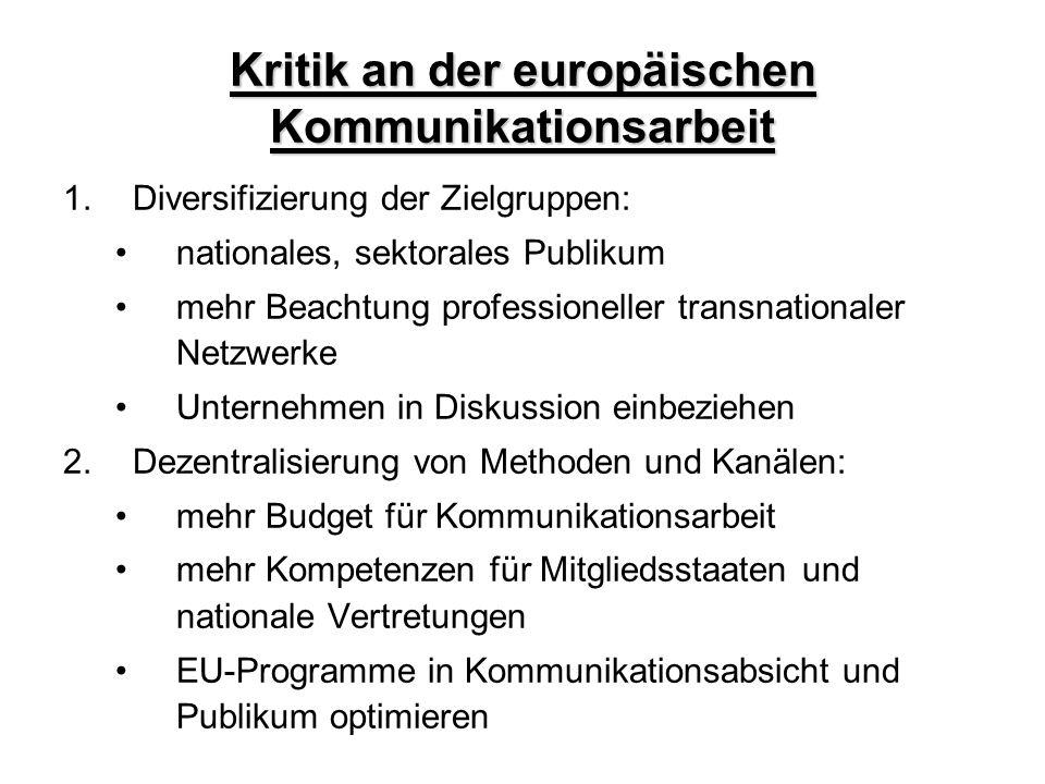 Kritik an der europäischen Kommunikationsarbeit