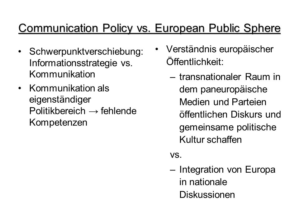 Communication Policy vs. European Public Sphere