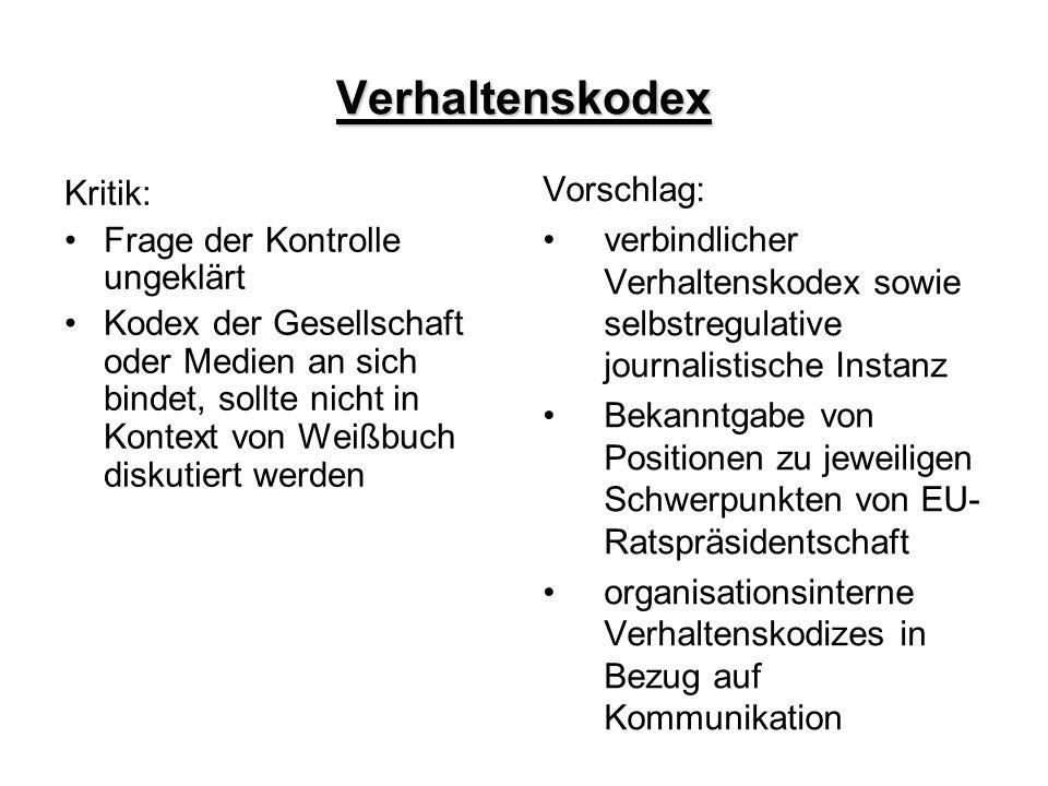 Verhaltenskodex Vorschlag: Kritik: