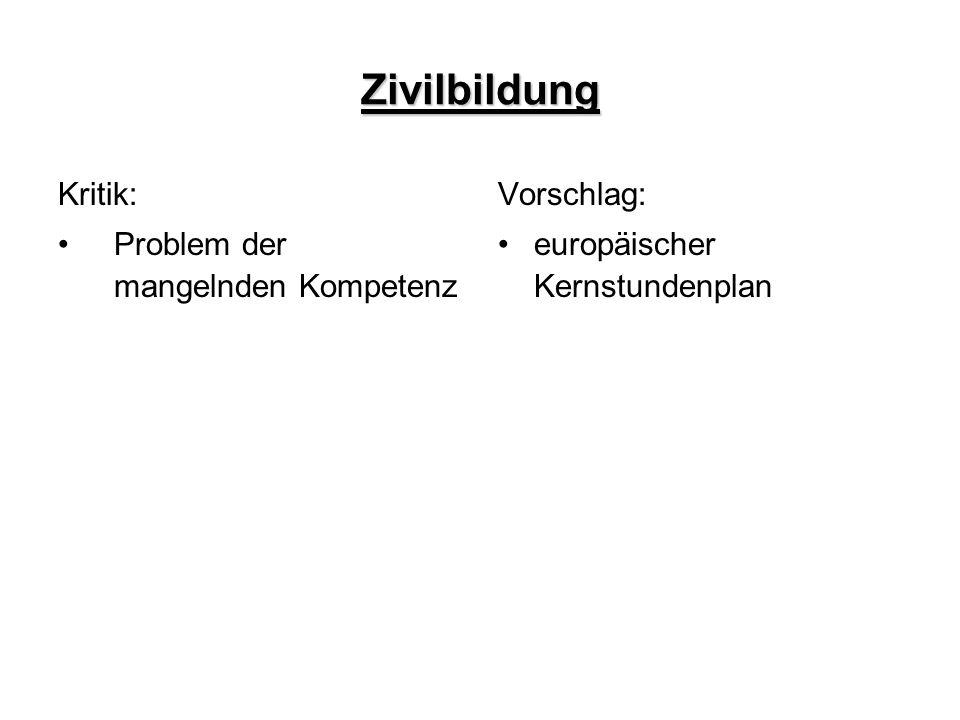 Zivilbildung Kritik: Problem der mangelnden Kompetenz Vorschlag: