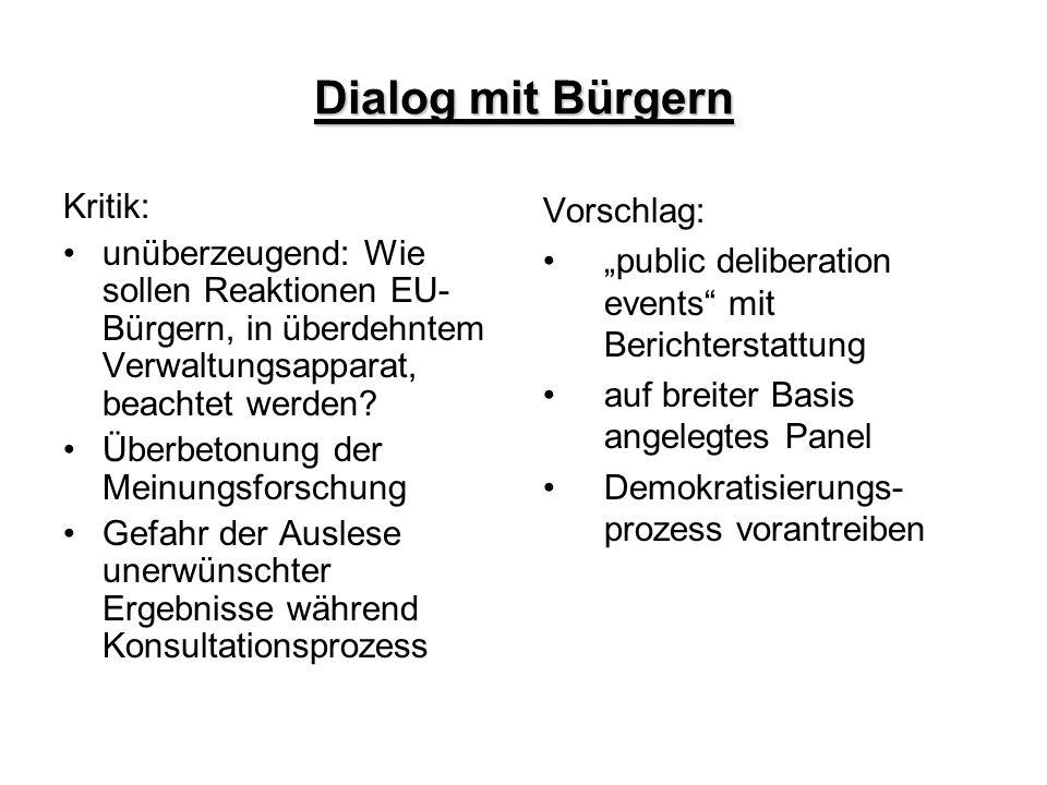 Dialog mit Bürgern Kritik:
