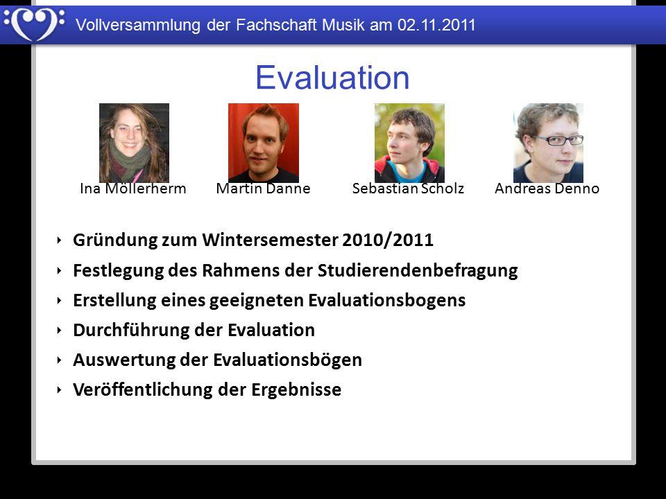 Evaluation Gründung zum Wintersemester 2010/2011