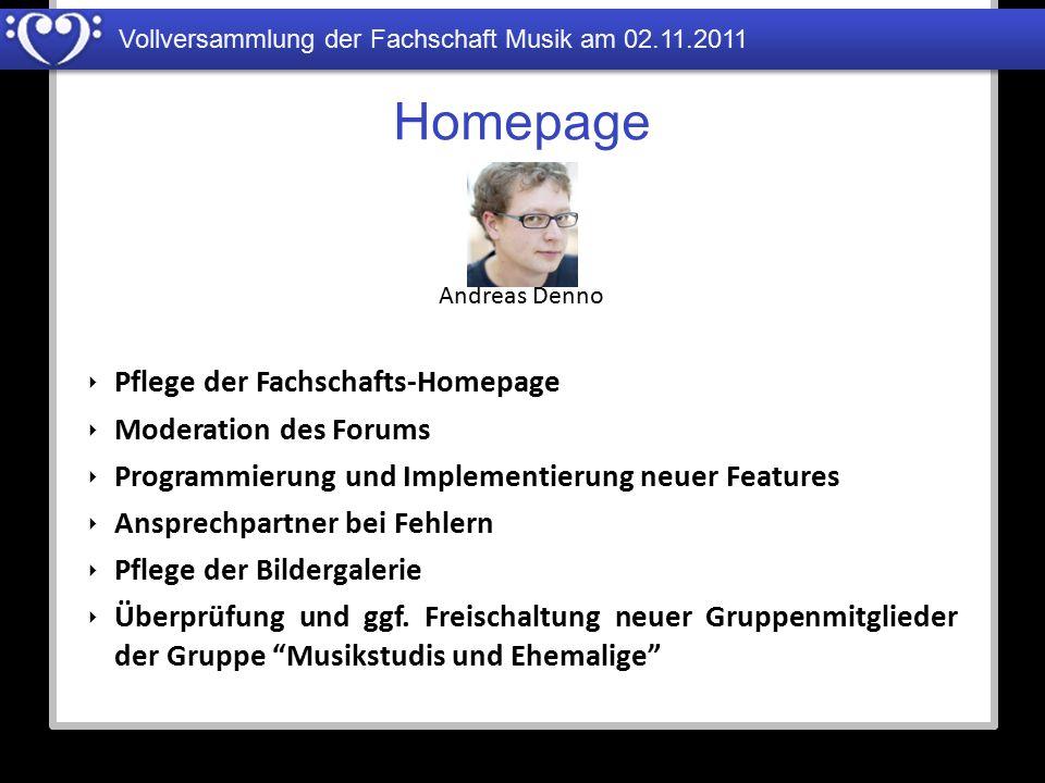 Homepage Pflege der Fachschafts-Homepage Moderation des Forums