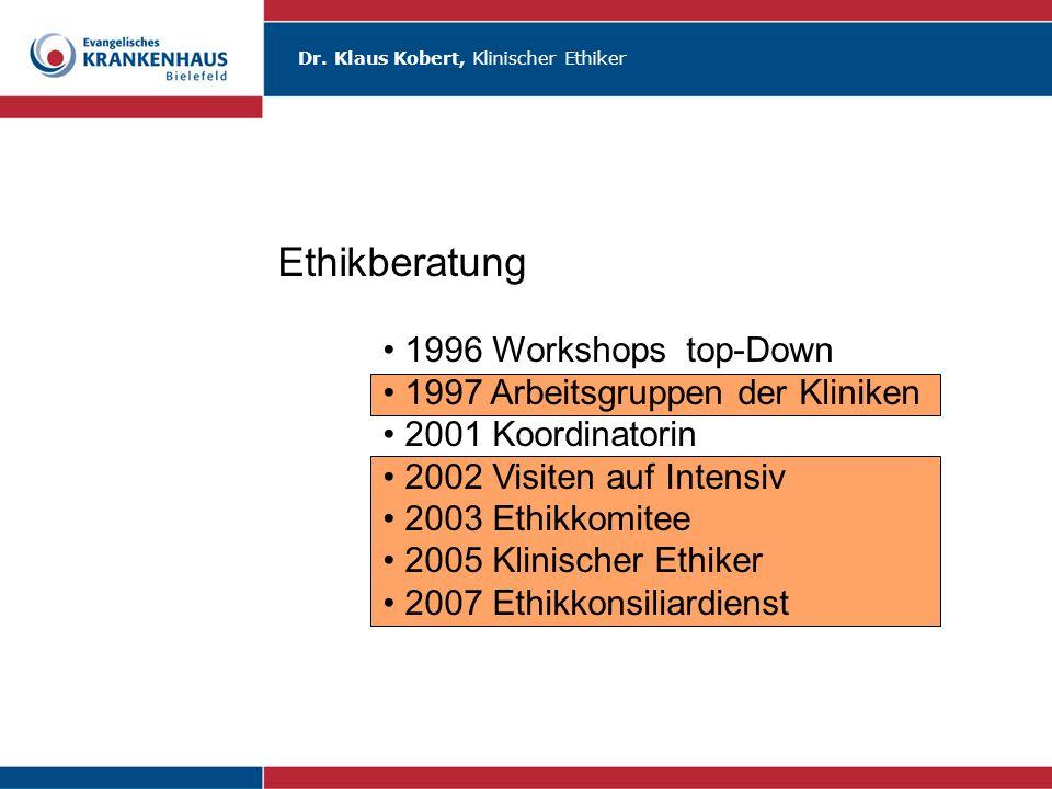 Ethikberatung 1996 Workshops top-Down 1997 Arbeitsgruppen der Kliniken