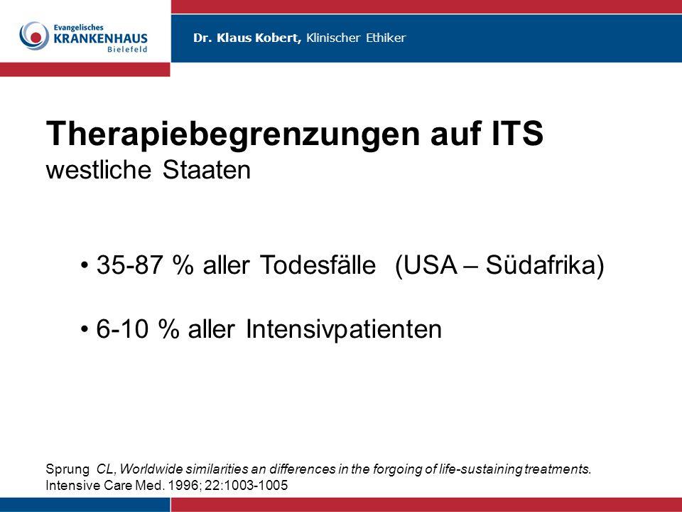 Therapiebegrenzungen auf ITS westliche Staaten