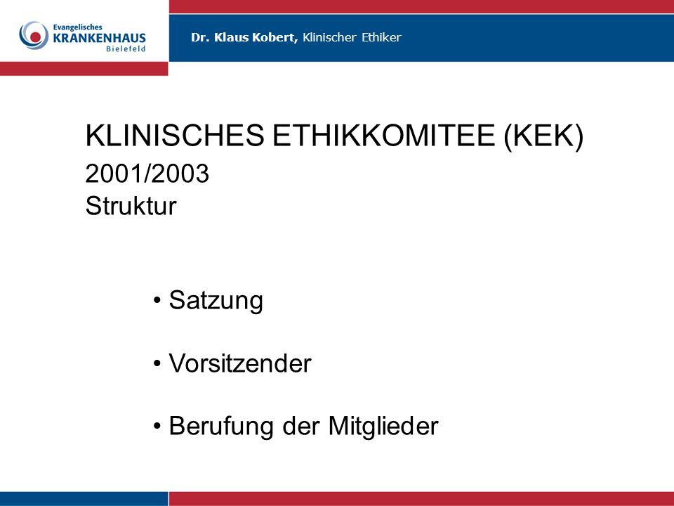 KLINISCHES ETHIKKOMITEE (KEK) 2001/2003