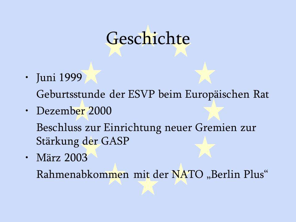 Geschichte Juni 1999 Geburtsstunde der ESVP beim Europäischen Rat