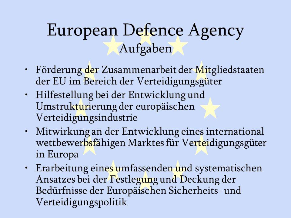 European Defence Agency Aufgaben