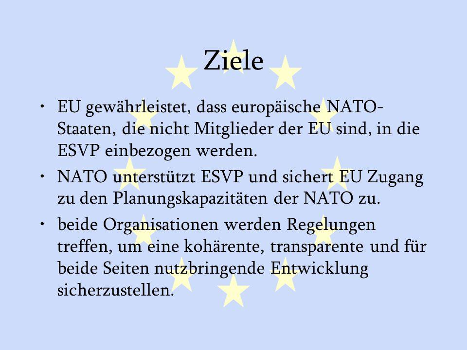 Ziele EU gewährleistet, dass europäische NATO-Staaten, die nicht Mitglieder der EU sind, in die ESVP einbezogen werden.