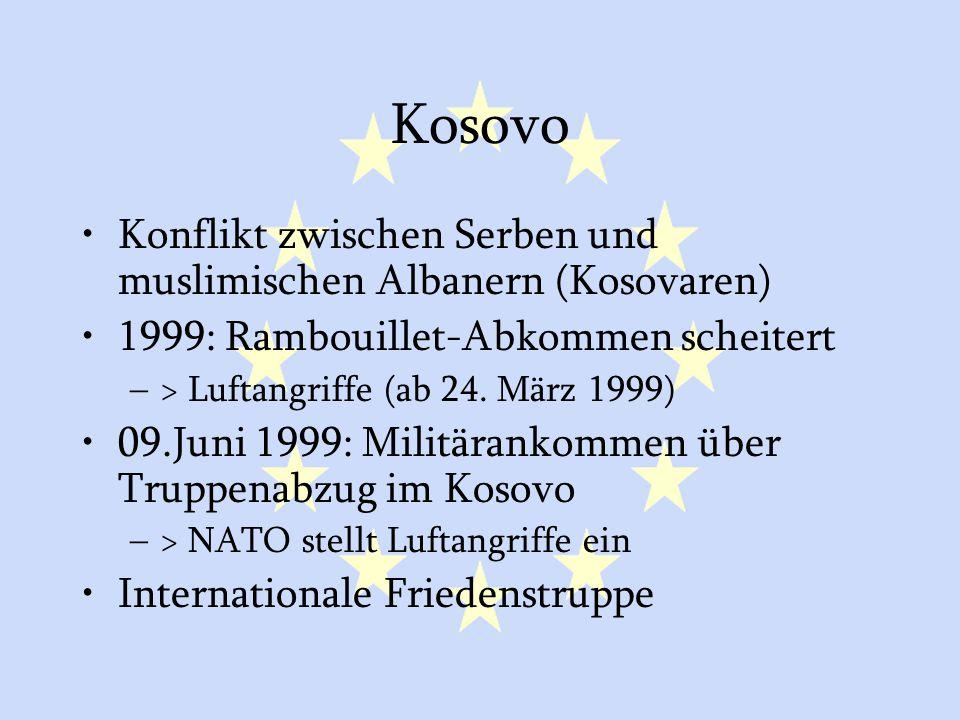 Kosovo Konflikt zwischen Serben und muslimischen Albanern (Kosovaren)