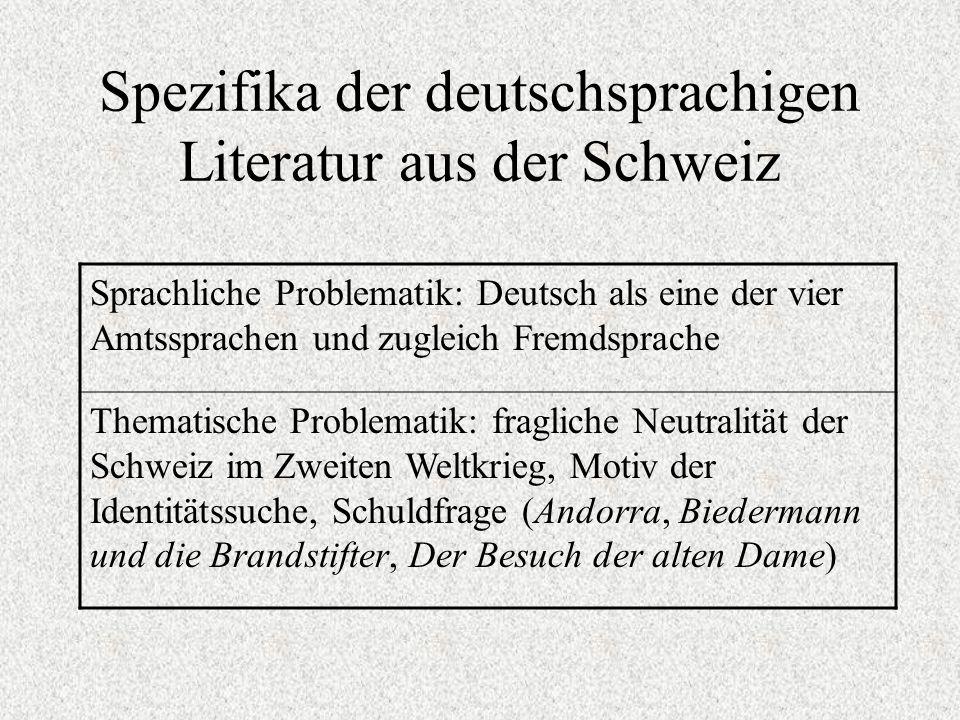 Spezifika der deutschsprachigen Literatur aus der Schweiz