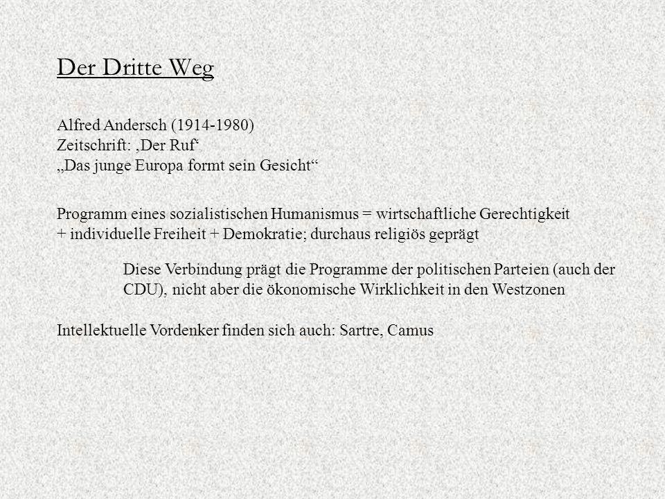 """Der Dritte Weg Alfred Andersch (1914-1980) Zeitschrift: 'Der Ruf' """"Das junge Europa formt sein Gesicht"""