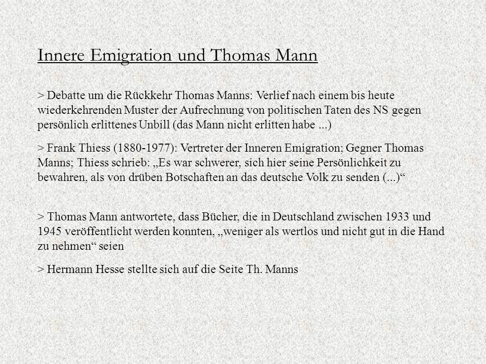 Innere Emigration und Thomas Mann
