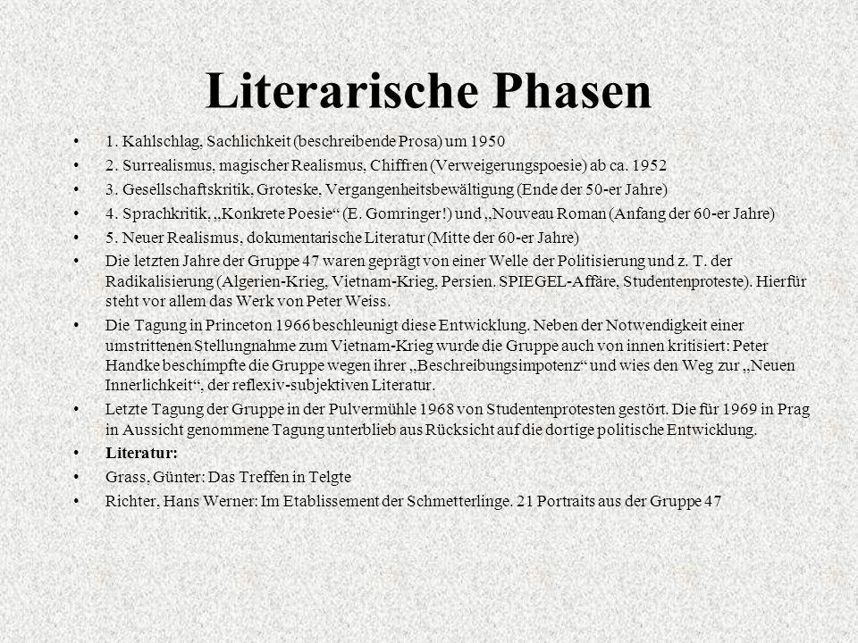 Literarische Phasen 1. Kahlschlag, Sachlichkeit (beschreibende Prosa) um 1950.