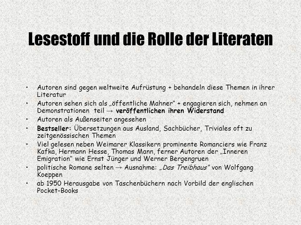 Lesestoff und die Rolle der Literaten