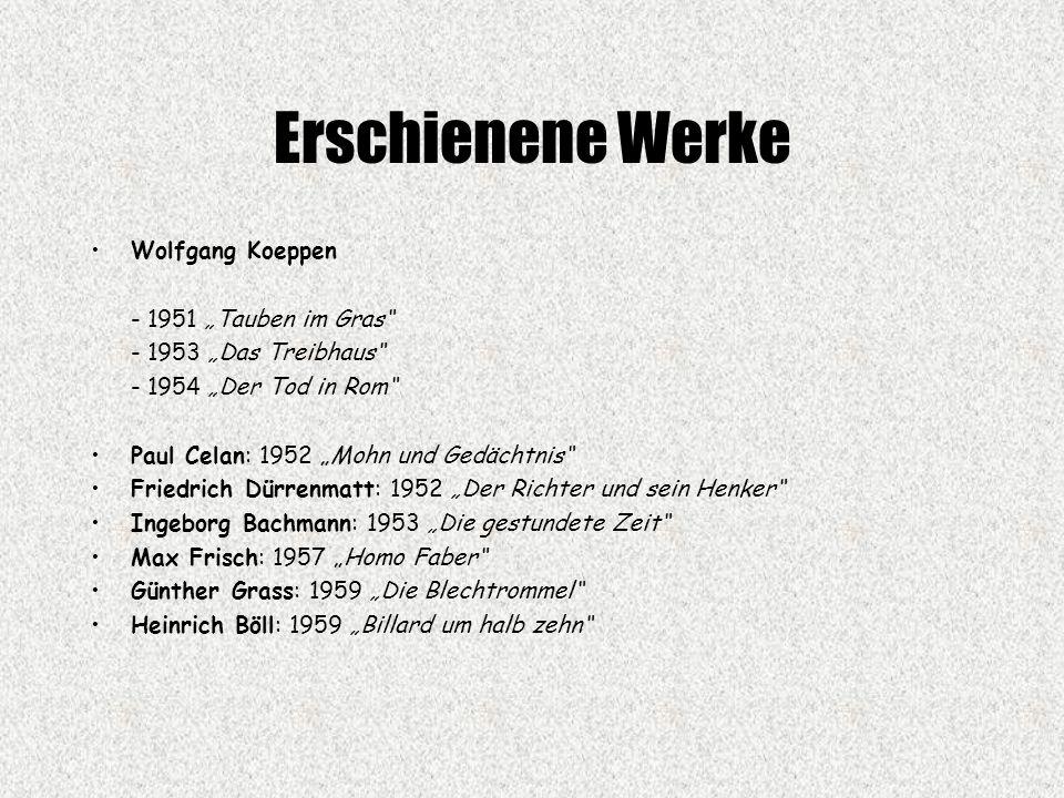 """Erschienene Werke Wolfgang Koeppen - 1951 """"Tauben im Gras"""
