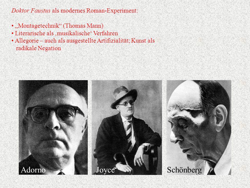 Adorno Joyce Schönberg Doktor Faustus als modernes Roman-Experiment: