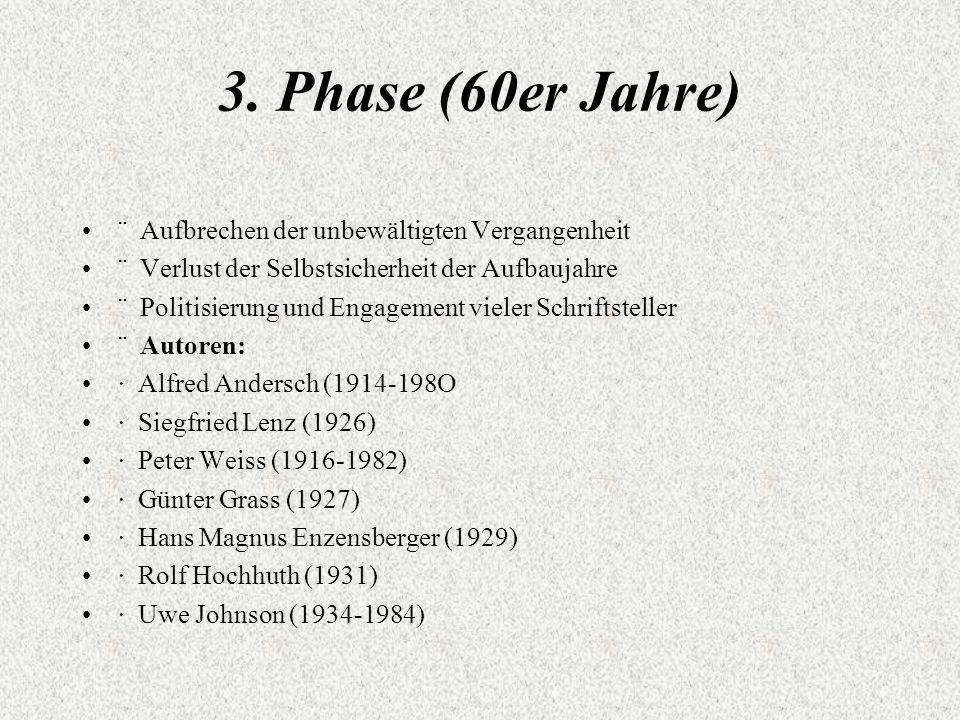 3. Phase (60er Jahre) ¨ Aufbrechen der unbewältigten Vergangenheit