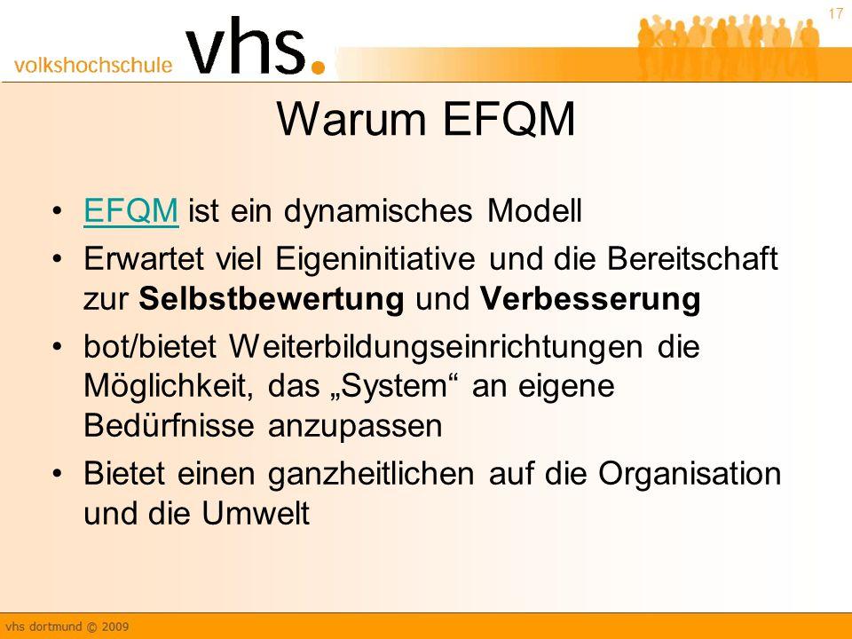 Warum EFQM EFQM ist ein dynamisches Modell