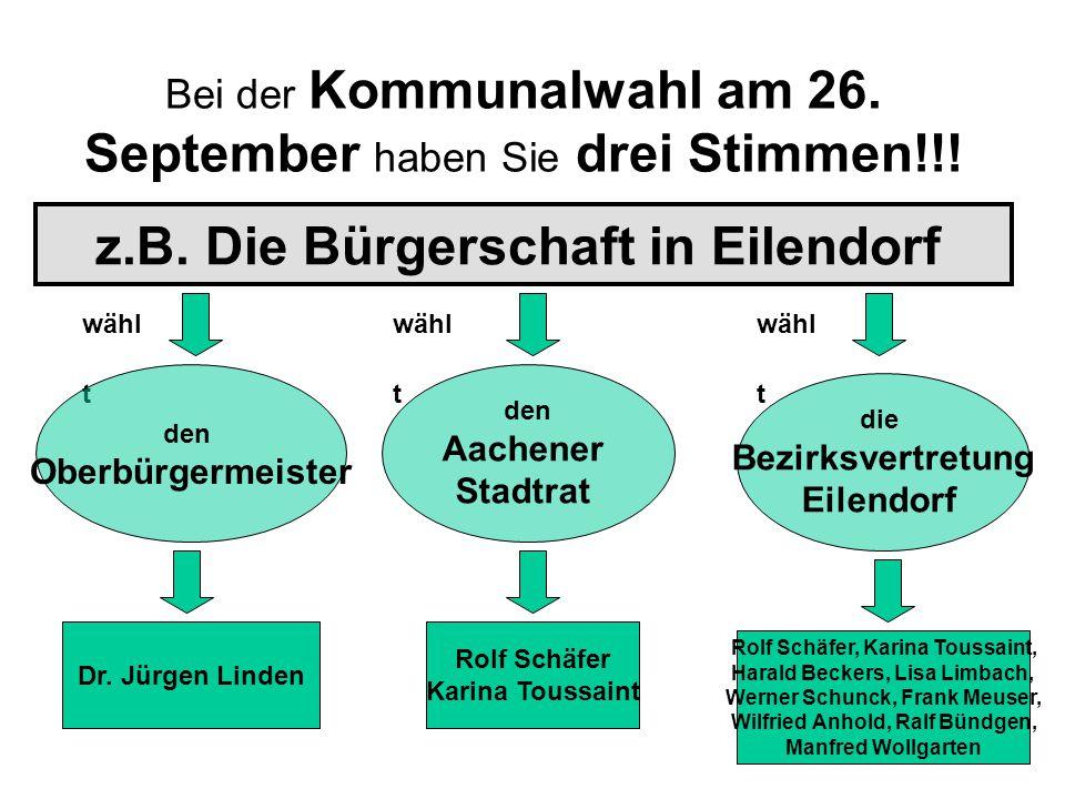 Bei der Kommunalwahl am 26. September haben Sie drei Stimmen!!!