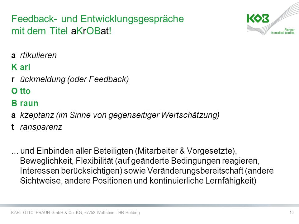 Feedback- und Entwicklungsgespräche mit dem Titel aKrOBat!