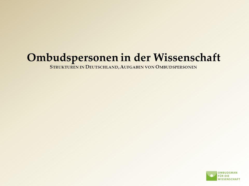 Ombudspersonen in der Wissenschaft Strukturen in Deutschland, Aufgaben von Ombudspersonen